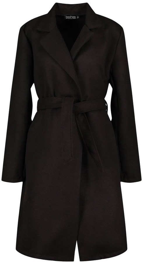 Thumbnail for your product : boohoo Belted Wool Look Coat
