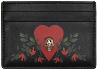 Alexander McQueen Black Skull Heart Card Holder