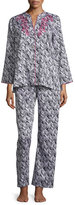 Oscar de la Renta Herringbone Stripe Pajama Set, Black/White