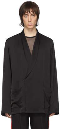Dries Van Noten Black Satin Shirt Blazer