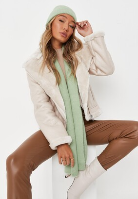 Missguided Sage Rib Fluffy Scarf And Beanie Hat Set
