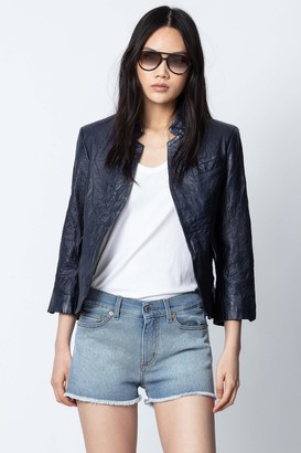 Zadig & Voltaire Verys Crinkle Leather Jacket