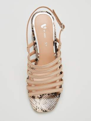 Very Georgia Strappy Mid Block Heel Sandals - Nude
