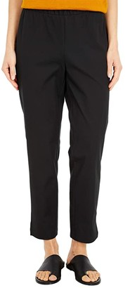 Eileen Fisher Organic Cotton Stretch Twill Mid-Rise Ankle Pants (Black) Women's Casual Pants