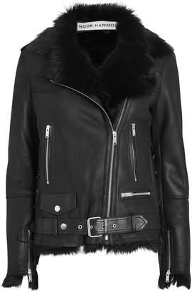 Nour Hammour Vivienne Shearling-Trimmed Moto Jacket