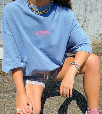 Collusion Unisex oversized t-shirt with logo print in washed pique