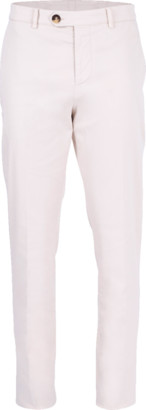 Brunello Cucinelli Off White Flat Front Basic Fit Trouser