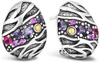 Devata Sterling Silver 18K Yellow Gold Accented Purple CZ Tiger Stripe Stud Earrings