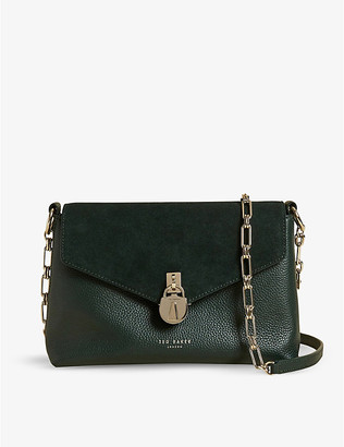 Ted Baker Miliaa padlock leather and suede crossbody bag