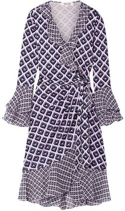 Diane von Furstenberg Ruffled Printed Silk-crepe And Chiffon Wrap Dress