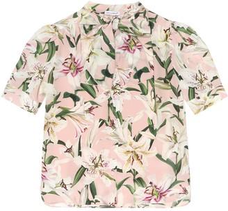 Dolce & Gabbana Kids Floral silk crepe de chine blouse