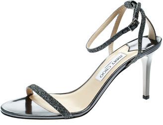 Jimmy Choo Metallic Dark Grey Lame Fabric Minny Ankle Strap Open Toe Sandals Size 41