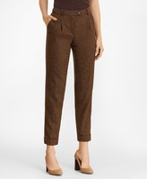 Brooks Brothers Petite Stretch Wool-Silk Tweed Pleated Pants