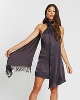 Missguided Satin Scarf Drape Fringe Trim Dress