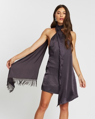 Missguided Satin Scarf Drape Fringe Trim Dress