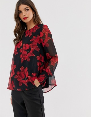 Y.A.S floral sheer sleeve blouse-Black