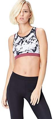 Active Wear Activewear Women's Sports Bra with Abstract Print and Racerback Slim Fit,Large
