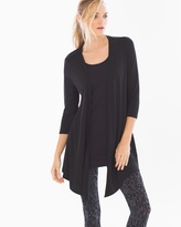 Soma Intimates 3/4 Sleeve Angled Hem Wrap Black