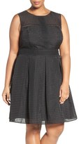London Times Windowpane Organdy Fit & Flare Dress (Plus Size)
