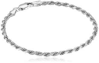 Amazon Essentials Sterling Silver Diamond-Cut Rope Chain Link Bracelet 7""