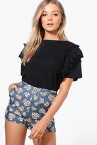 boohoo Hannah Denim Look Woven Heart Print Shorts