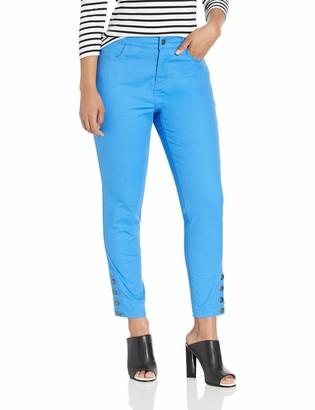 Caribbean Joe Women's Slim Denim Button Leg Pant