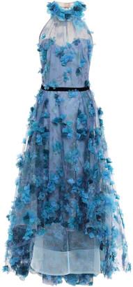 Marchesa Velvet-trimmed Appliqued Floral-print Tulle Gown
