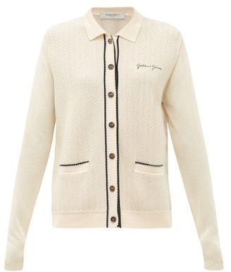 Golden Goose Amelia Logo-embroidered Piped Cardigan - Cream