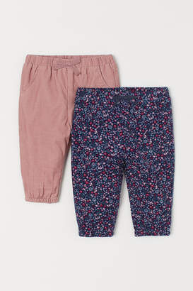 H&M 2-pack Cotton Pull-on Pants - Pink