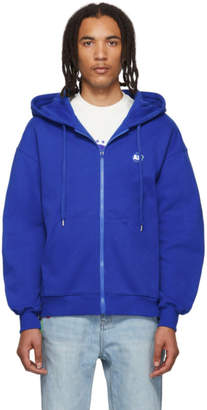ADER error Blue Stone Logo Zip-Up Hoodie