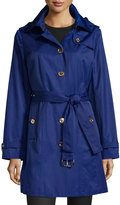Mystic Hooded Trench Coat with Belt, Sapphire