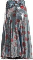 JOHANNA ORTIZ Bow-detail floral-print sequin-embellished skirt