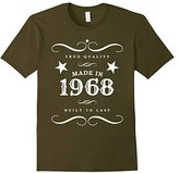 "Women's 49th Birthday T-Shirt. ""Made in 1968"" Gift Tee XL"