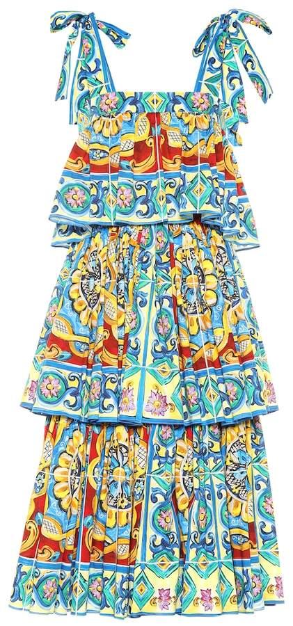 Dolce & Gabbana Tiered printed stretch cotton dress
