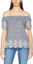 Dorothy Perkins Women's Gingham Embroidered Off The Shoulder Blouse