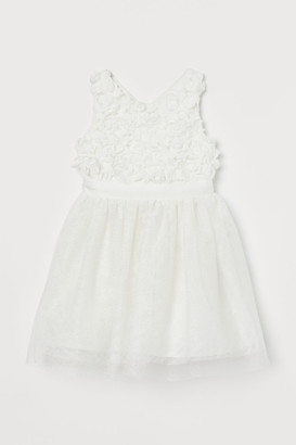 H&M Glittery Tulle Dress - White
