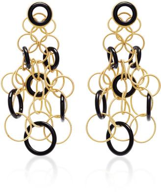 Buccellati Hawaii 18K Gold And Onyx Earrings
