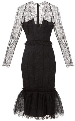Alexandre Vauthier Fluted-hem Plunge-neck Floral-tulle Dress - Black