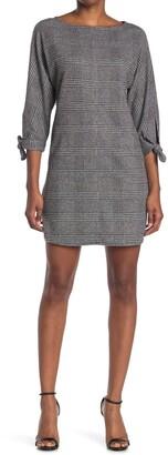 Max Studio Glen Plaid Self-Tie Sleeve Dress