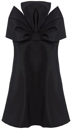Carolina Herrera Dramatic Bow Silk Mini Dress