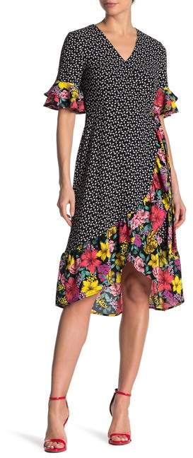 Spense Floral Mixed Print Ruffle Wrap Dress