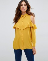 Asos Cold Shoulder Blouse with Ruffle
