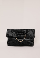Missguided Metal Handle Velvet Clutch Bag Black