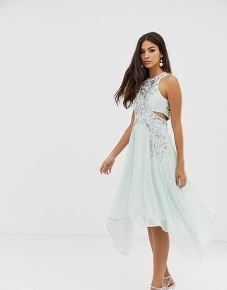 Asos Design DESIGN cut out waist embellished panels hankey hem midi dress