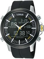 Lorus Rw605ax9 Digital Dual Time Chronograph Rubber Strap Watch, Black