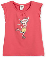 Karl Lagerfeld Flutter-Sleeve Choupette Skating Jersey Tee, Pink, Size 4-5