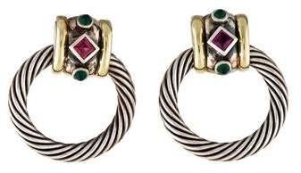 David Yurman Tourmaline & Dyed Chalcedony Renaissance Doorknocker Earrings