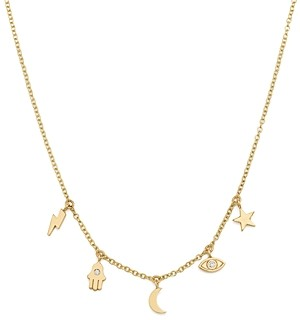 Zoë Chicco 14K Yellow Gold Itty Bitty Celestial Charms Necklace with Diamonds, 16