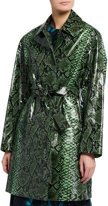 Dries Van Noten Coated Python-Print Coat