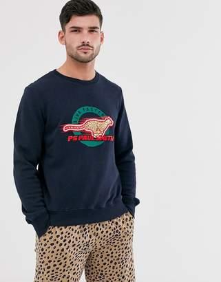 Paul Smith embroidered cheetah logo sweatshirt in navy